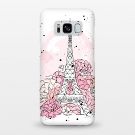 Galaxy S8+  Peony Paris by Martina (paris,love,pink,romantic,elegant,modern,stylish,illustration,eiffel tower,nature,floral,flowers,peonies,france,french,pretty,girlie,feminine,watercolor,original, unique)