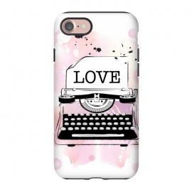 iPhone 8/7  Love Typewriter by Martina (love,typewriter,pink,vintage,modern,popular,fashionable,romantic,elegant,stylish,illustration,for her,feminine,girlie,watercolor,original, unique)
