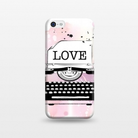 iPhone 5C  Love Typewriter by Martina (love,typewriter,pink,vintage,modern,popular,fashionable,romantic,elegant,stylish,illustration,for her,feminine,girlie,watercolor,original, unique)