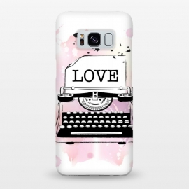 Galaxy S8+  Love Typewriter by Martina (love,typewriter,pink,vintage,modern,popular,fashionable,romantic,elegant,stylish,illustration,for her,feminine,girlie,watercolor,original, unique)