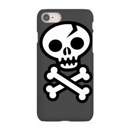 iPhone 8/7  Skull & Crossbones by Wotto (skull,skulls,skeleton, vector, death, deathly, dead,pirate, pirate flag,illustrated,bones,symbol, logo,death symbol, sign,emoticon, icon,simple, vector art,cracked skull,wotto,skull face,dark, dark arts)