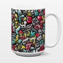 15 oz Standard Mug Not Staying in the Lines by Wotto (doodles, cute, characters,colorful, bright, summer, faces, people,animals, illustrator, illustration,mass of color,kids,cheerful, bold,doodle,drawing,watercolor,fun,designer,unique,robot,doodle art)