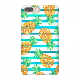 iPhone 7 plus  Pineapple Sea Stripes by Amaya Brydon (pineapple,fruit,stripes,geometric,summer,sea)