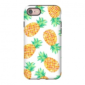 iPhone 8/7  Summer Pineapple by Amaya Brydon (pineapple,fruit,botanical,pattern,orange,yellow)