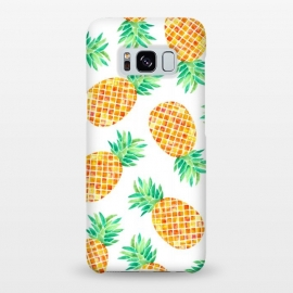 Galaxy S8+  Summer Pineapple by Amaya Brydon (pineapple,fruit,botanical,pattern,orange,yellow)