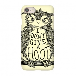 iPhone 7 SlimFit No Hoots Given by Wotto (Nature,owl,hoot,attitude, type, saying, slogan,no hoots,grumpy,owl art,pattern,detailed,drawing,hand drawn,bird,tree,cream,angry bird,typography,slogan art,inspirational,no worries,no cares,free,wotto, cute character, cute bird)