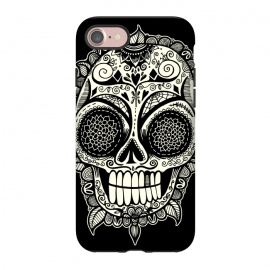 iPhone 8/7 StrongFit Dead Head by Wotto (Dia de los Muertos, day of the dead, sugar skull,calavera,calaveras, roses,floral,patterns,leaves, flowers,death, deathly, dark,dark arts,skeleton, skull, skulls,dead,dead head,wotto,Mexican art, mexico,mexican,patterned skull,floral skull,halloween)
