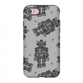 iPhone 8/7 StrongFit A Vintage Robot Friend Pattern  by Wotto (robot,toy,robots, robot pattern,robot art,vector,tin toys, vintage toys,beep bop,pattern,space, future,science,robotic,cute, fun, nostalgia ,wotto)