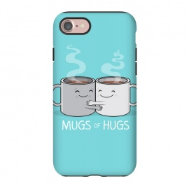 iPhone 8/7 StrongFit Mugs of Hugs by Wotto (mugs, coffee, java,caffeine, coffee lover, positive,fun, funny, cute, coffee art,characters,hugs, love,hugging, mondays,mornings, friends, friendship,mates,steam,smiles,loving, caring,gift)
