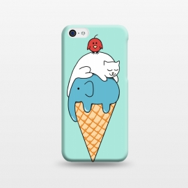 iPhone 5C  Animals Ice Cream by Coffee Man (animals, cute, adorable, cat, cat lover, elephant, bird, kid, kids, children, ice cream, fun, funny, humor, food)