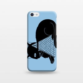 iPhone 5C  Cat Illuminati Blue by Coffee Man (cat, cats, illuminati, pyramid, egypt, eye, cute, adorable, animal, pet, animal lover, pet lover, black cat, fun, funny, humor, gato)