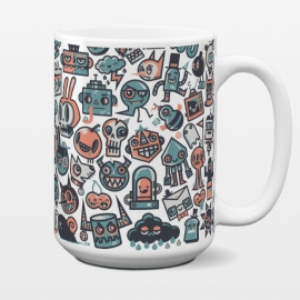 15 oz Standard Mug 61 by Wotto (doodles, characters,cute, funny,61,cat,rabbit, vector, vector art, wotto,weird, odd,unique,cherry,cloud,fun,illustration, illustrator,skull,colorful, odd balls)