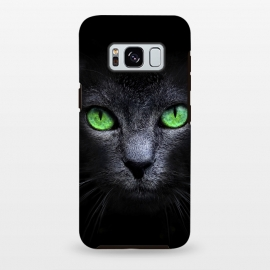 Galaxy S8 plus  Black Cat by  (Cat,Black,Dark,Green,Eyes,wild,glass,meow,look)