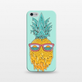 iPhone 5/5E/5s  Pineapple Summer Blue by Coffee Man (pineaaple, summer,hot,melted,ocean, sea,beach,vacation,spring break,sun, sun glasses,marine,vintage,cool)