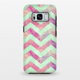 Galaxy S8+  Mint Pink Watercolor Chevron by Girly Trend