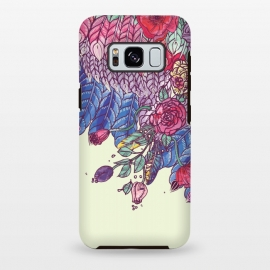 Galaxy S8+  Bohochic  Wings  by Stefania Pochesci (bohochic,wings,unique,gift ,blue wings,fly,boho,bohemien,bohostyle,floral,tatoo,illustration,birthdaygift,fashion,birds,feathers,vintagefeel,vintage)