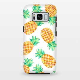 Galaxy S8 plus  Summer Pineapple by  (pineapple,fruit,botanical,pattern,orange,yellow)
