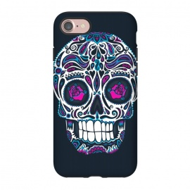 iPhone 8/7 StrongFit Calavera IV Neon  by Wotto (skull, day of the dead,skulls,floral,sugar skull,neon, neon colors, colorful, death, dead, skull face,roses,flowers,patterned,calavera,mexican art, Mexico, pattern,cool, wotto,dark arts)