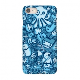 iPhone 7 SlimFit Raindrops and Doodles by Wotto (sea, ocean, doodles,doodle,drawing, sketch,doodle art,pattern, detailed, characters, cute, fun, kawaii,ocean creatures,blue, blues,line,line art, hand drawn,drawings,wotto)