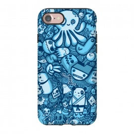 iPhone 8/7  Raindrops and Doodles by Wotto (sea, ocean, doodles,doodle,drawing, sketch,doodle art,pattern, detailed, characters, cute, fun, kawaii,ocean creatures,blue, blues,line,line art, hand drawn,drawings,wotto)