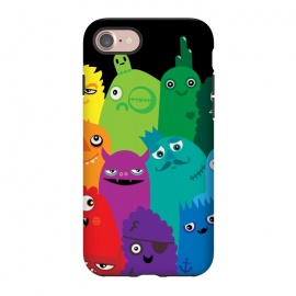 iPhone 8/7 StrongFit Phone full of Monsters by Wotto (bright, monsters, colorful,bold, characters, kids, child friendly,fun, unique,rainbow,monster,funny,cute, kawaii, wotto,vector art, vectors)