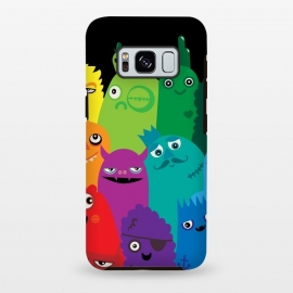 Galaxy S8+  Phone full of Monsters by Wotto (bright, monsters, colorful,bold, characters, kids, child friendly,fun, unique,rainbow,monster,funny,cute, kawaii, wotto,vector art, vectors)