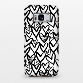 Galaxy S8+  Black and white hearts by Laura Grant (heart,love,love heart,painted)