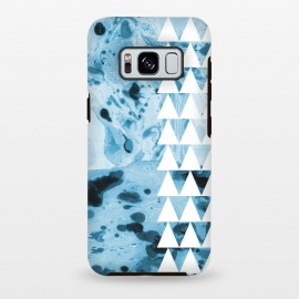 Galaxy S8+  Marble triangles by Laura Grant (marble,triangles,geometric,pattern,blue)