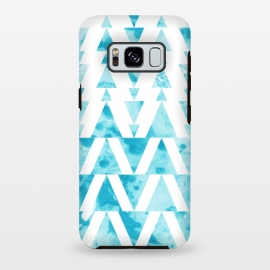 Galaxy S8+  Marble triangles 2 by Laura Grant (marble,triangle,geometric,blue)
