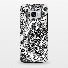 Galaxy S8+  Ink paisley by Laura Grant (paisley,blackandwhite,pattern)
