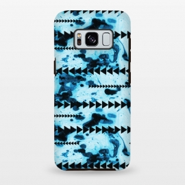 Galaxy S8+  marble stripe by Laura Grant (marble,geometric,triangle,blue,pattern)
