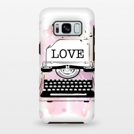 Love Typewriter by Martina (love,typewriter,pink,vintage,modern,popular,fashionable,romantic,elegant,stylish,illustration,for her,feminine,girlie,watercolor,original, unique)