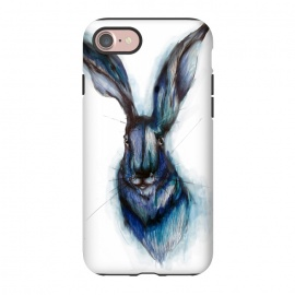 iPhone 8/7  Blue Hare by ECMazur  (hare,rabbit,bunny,watercolor,blue,ink,animal,nature,wildlife,whimsical)