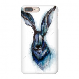 Blue Hare by ECMazur  (hare,rabbit,bunny,watercolor,blue,ink,animal,nature,wildlife,whimsical)