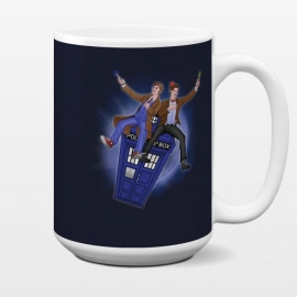 15 oz Standard Mug THE DOCTOR'S TIMEY-WIMEY ADVENTURE by SKULLPY (DR WHO,BILL AND TED,MOVIES, TV SHOW,TARDIS,DOCTOR,NERD, NERDY,MASHUP,10TH DOCTOR, 11TH DOCTOR,POP)