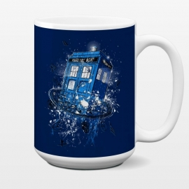 15 oz Standard Mug Breaking the Time by Branko Ricov (tardis,drwho,doctor who,time travel,time,space,breaking the time)