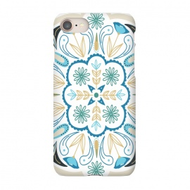 iPhone 7  Floral Medallion by TracyLucy Designs (medallion,tile,pattern,floral,geometric,blue,aqua,green,ethnic)