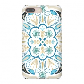 iPhone 8/7 plus  Floral Medallion by TracyLucy Designs (medallion,tile,pattern,floral,geometric,blue,aqua,green,ethnic)
