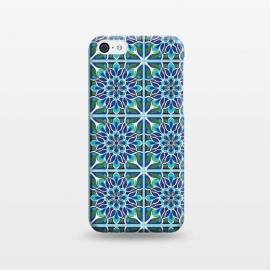 iPhone 5C  Floral Medallion by TracyLucy Designs (medallion,tile,pattern,floral,geometric,blue,aqua,green,ethnic)