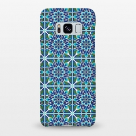 Galaxy S8+  Floral Medallion by TracyLucy Designs (medallion,tile,pattern,floral,geometric,blue,aqua,green,ethnic)