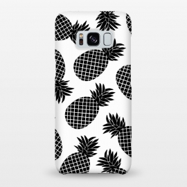 Galaxy S8+  Pineapple In Black  by Amaya Brydon (black,white,pineapple,fruit,botanical,b&w,blackandwhite,minimal)
