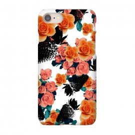 iPhone 7 SlimFit Strawberries + Flowers by Zala Farah (fruits,fruit print,fruit collage,strawberry,strawberries,black strawberry,floral,flowers,orange flowers,bouquet,floral bouquet,pink flowers,flowers and fruits,floral collage,zala02creations)