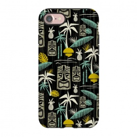 iPhone 8/7  Island Tiki Black by Heather Dutton (tiki,tropical,tropical print,tropical pattern,vector,pattern,retro,retro style,midcentury,midcentury modern,palm tree,palm trees,hawaiian,hawaii,tiki pattern,black,vintage)