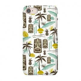 iPhone 7 SlimFit Island Tiki White by Heather Dutton (tiki,tiki pattern,tropical,tropical pattern,tropical print,vector,pattern,illustration,retro,retro style,midcentury,midcentury modern,palm tree,palm trees,palm,hawaiian,hawaii,white,vintage)