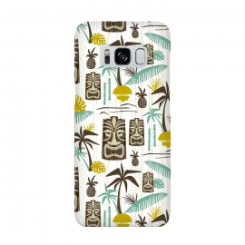 Island Tiki White by Heather Dutton (tiki,tiki pattern,tropical,tropical pattern,tropical print,vector,pattern,illustration,retro,retro style,midcentury,midcentury modern,palm tree,palm trees,palm,hawaiian,hawaii,white,vintage)