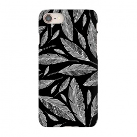 iPhone 7 SlimFit Float Like A Feather by Heather Dutton (feather,feathers,nature,nature inspired,bird,birds,native american,black,black and white,vector,illustration,graphic design,pattern,patterns,modern,quill,animals)