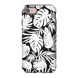 iPhone 7 StrongFit Urban Jungle Black by Heather Dutton (tropical,tropical pattern,tropical print,tropical leaves,tropical leaf,palm,palm leaf,palm leaves,banana leaf,bananaleaves,monstera,monstera leaves,monstera leaf,black,black and white,pattern,graphic design,nature,nature inspired,hawaii,hawaiian)