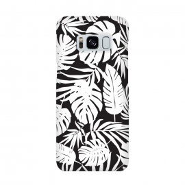Urban Jungle Black by Heather Dutton (tropical,tropical pattern,tropical print,tropical leaves,tropical leaf,palm,palm leaf,palm leaves,banana leaf,bananaleaves,monstera,monstera leaves,monstera leaf,black,black and white,pattern,graphic design,nature,nature inspired,hawaii,hawaiian)