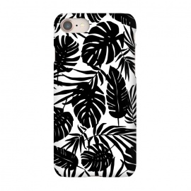 iPhone 7 SlimFit Urban Jungle White by Heather Dutton (tropical,tropical pattern,tropical print,tropical leaf,tropical leaves,palm,palm leaf,palm leaves,banana leaf,banana leaves,monstera,monstera leaf,monstera leaves,black,black and white,pattern,graphic design,nature,nature inspired,hawaii,hawaiian,leaf,leaves)