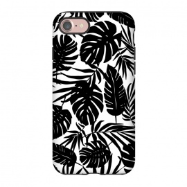 iPhone 8/7  Urban Jungle White by Heather Dutton (tropical,tropical pattern,tropical print,tropical leaf,tropical leaves,palm,palm leaf,palm leaves,banana leaf,banana leaves,monstera,monstera leaf,monstera leaves,black,black and white,pattern,graphic design,nature,nature inspired,hawaii,hawaiian,leaf,leaves)